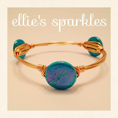 Pearlized Teal Coin Bangle