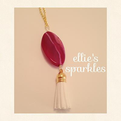 Pink Agate Tassel Necklace