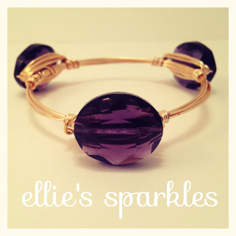Purple Crystal Oval Bangle