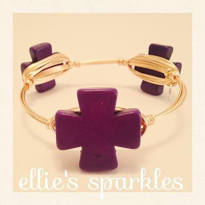 Purple Square Cross Bangle