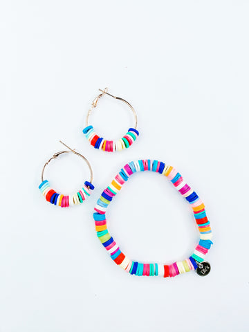 Rainbow Bracelet and Rainbow Earrings Bundle