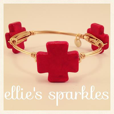 Red Square Cross Bangle
