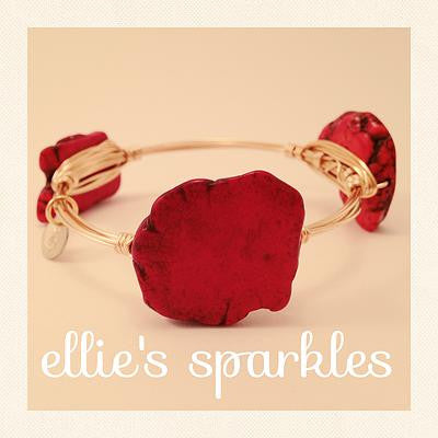 Red Turquoise Nugget Bangle