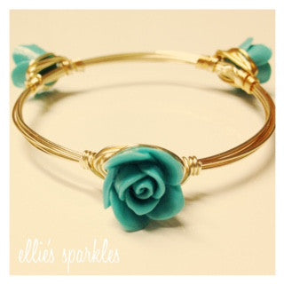 Dainty Mint Flower Bangle