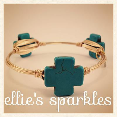 Turquoise Square Cross Bangle