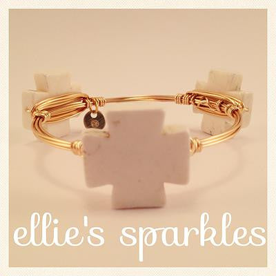 White Square Cross Bangle