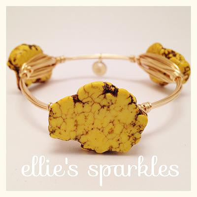 Yellow Turquoise Nugget Bangle