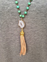 White Druzy/Tan Tassel/Turquoise Beaded Chain Necklace