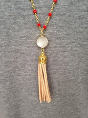 White Druzy/Tan Tassel/Red Beaded Chain Necklace
