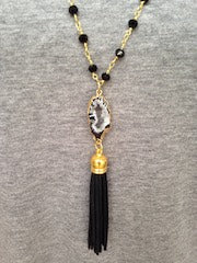 Black & White Druzy/Black Tassel/Black Beaded Chain Necklace