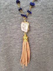 White Druzy/Tan Tassel/Blue Beaded Chain Necklace