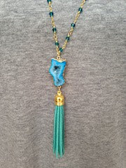 Blue Druzy/Turquoise Tassel/Emerald Beaded Chain Necklace