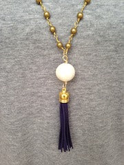 Cotton Pearl/Navy Tassel/Gold Beaded Chain Necklace