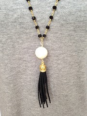 Cotton Pearl/Black Tassel/Black Beaded Chain Necklace