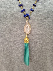 White Druzy/Turquoise Tassel/Blue Beaded Chain Necklace