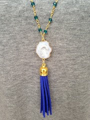 White Druzy/Blue Tassel/Emerald Beaded Chain Necklace