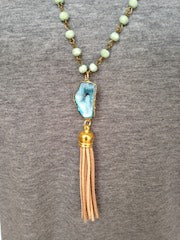 Blue Druzy/Tan Tassel/Mint Beaded Chain Necklace