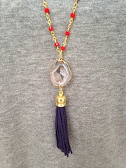 White Druzy/Navy Tassel/Red Beaded Chain Necklace