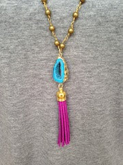 Blue Druzy/Radiant Orchid Tassel/Gold Beaded Chain Necklace