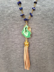 Green Druzy/Tan Tassel/Blue Beaded Chain Necklace