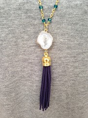 White Druzy/Navy Tassel/Emerald Beaded Chain Necklace