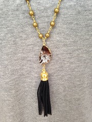 Black & White Druzy/Black Tassel/Gold Beaded Chain Necklace