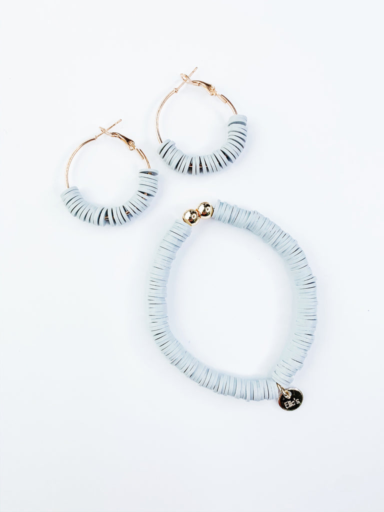 Grey Bracelet and Grey Earrings Bundle