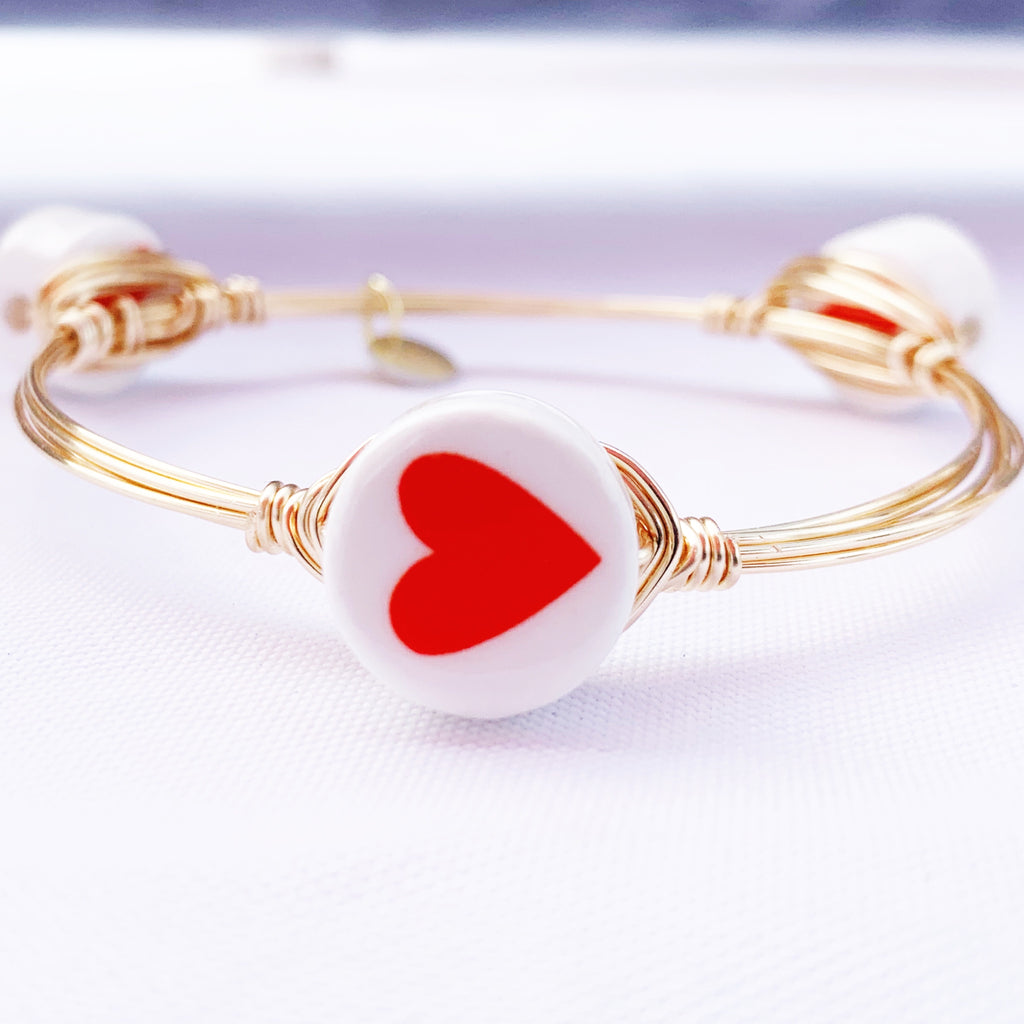 Red heart Coin Bangle