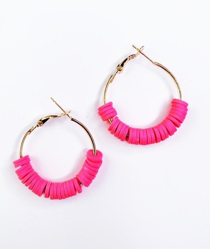 Bright Pink Hoop Earrings