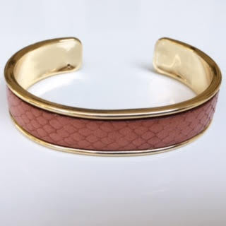 Blush Snake Leather Cuff