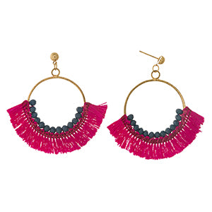 Pink Fanned Tassel Earrings