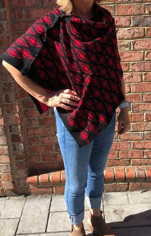 Black with Red Diamond Poncho ~ Reversible to Red with Black