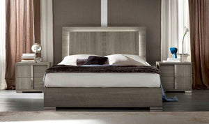 ALF Italia Tivoli Queen & King Bed Light Grey Oak with Lights, Storage Available