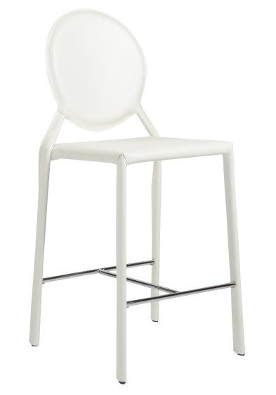 Eurostyle Isabella Counter Stool in White Leather and Metal
