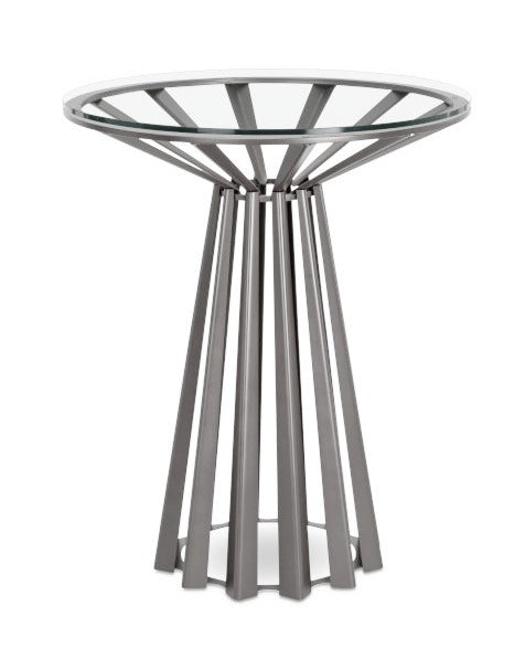 Elite Modern Corona End Table in Glass and Mist Metal