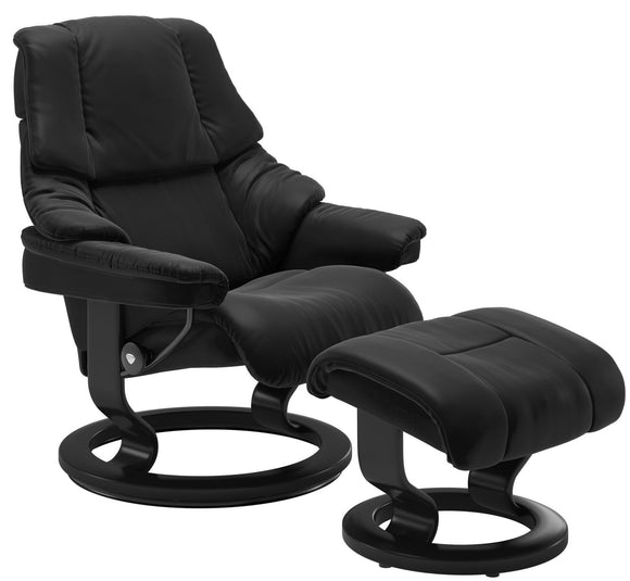 Ekornes Stressless Reno Small Recliner with Ottoman in Black Paloma Leather and Black Wood Classic Base
