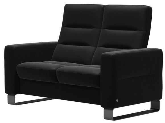 Ekornes Wave Loveseat in Black Paloma Leather and Steel Bow Legs