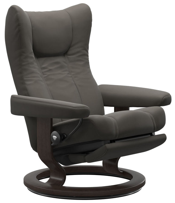 Ekornes Stressless Wing Large Classic Power Recliner With Ottoman Large Power Leg/Back: Wenge Wood Classic Base; Metal Grey Paloma Leather