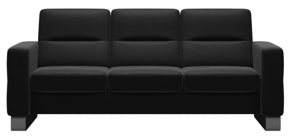 Ekornes Wave Lowback Sofa in Black Paloma Leather and Bow Steel Legs