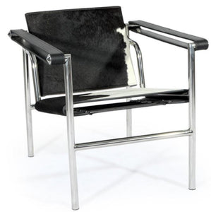 Ital Studio Pony C228 Occasional Chair with a White/Black Pony Hair Seat, Black Leather Arms, and Chrome Legs