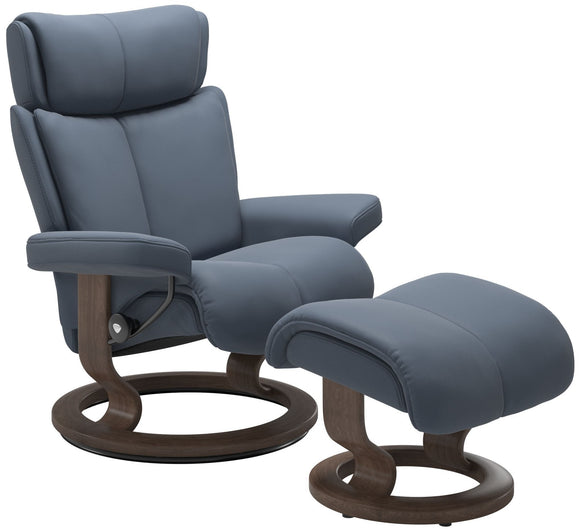 Ekornes Stressless Magic Large Recliner with Ottoman in Sparrow Blue Paloma Leather and Walnut Wood Classic Base