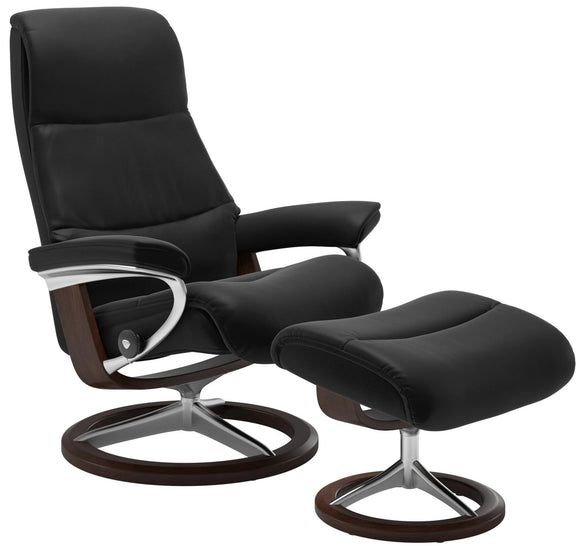 Ekornes View Small Recliner with Ottoman in Black Paloma Leather and a Wenge Wood Signature Base