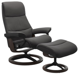 Ekornes View Large Recliner with Ottoman in Rock Paloma Leather, Wenge Wood, and a Matte Black Signature Base