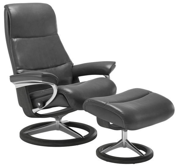 Ekornes View Medium Recliner with Ottoman in a Grey Pioneer Leather with a Grey Wood Signature Base