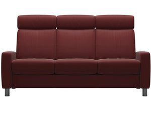 Ekornes Stressless Arion Sofa in Red Paloma Leather and Steel Legs