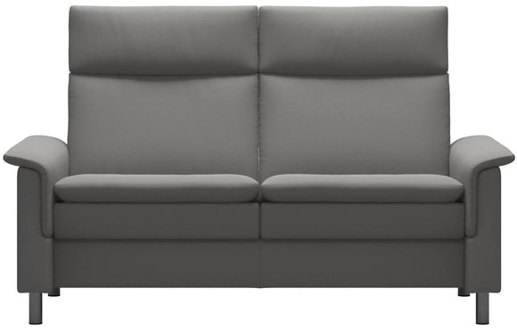 Ekornes Stressless Aurora Loveseat with a High Back in Silver Grey Paloma Leather and Steel Legs