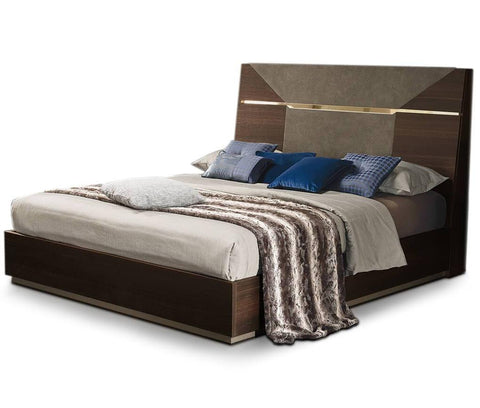 ALF Italia Accademia Queen Bed Upholstered Termocotto Contemporary Italy Dark Walnut