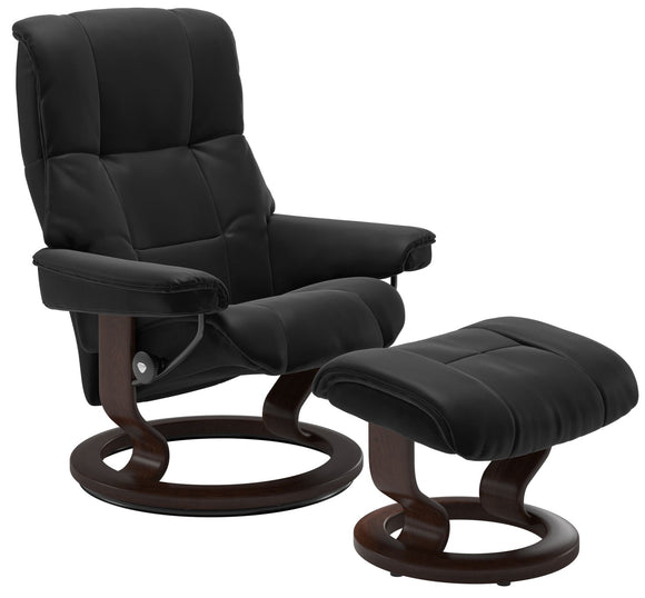 Ekornes Stressless Mayfair Small Recliner with Ottoman in Black Paloma Leather with a Classic Brown Wood Base