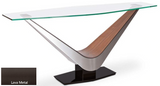 Elite Modern Victor 2022 Console Table with a Glass Table, Walnut Arms and a Lava Metal Base