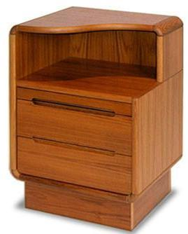 Sun Cabinet's Nightstand For Left Side With Graceful Curved Top & Drawers in Teak